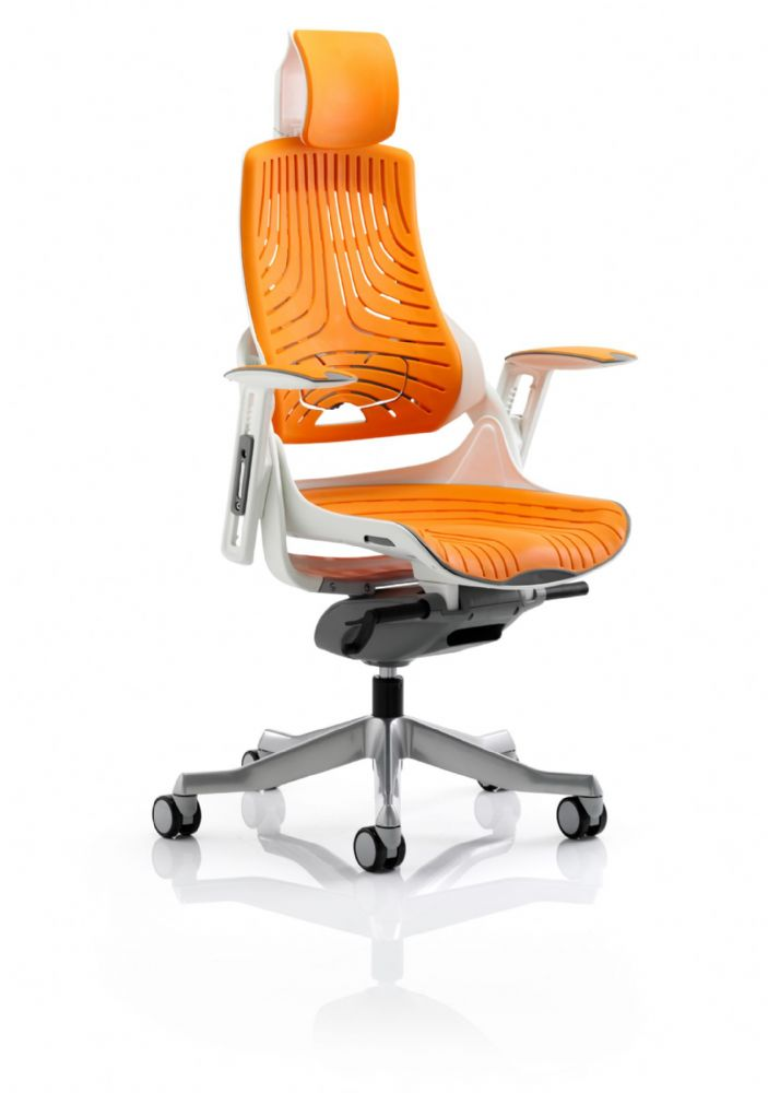 Zure Executive Task Chair Office Seat & Back Elastomer Gel Material Headrest - Colours Vary